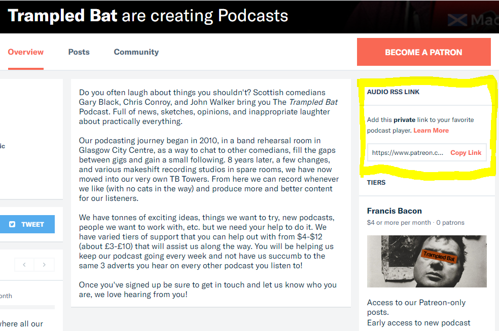 Screenshot on Trampled Bat Patreon page.